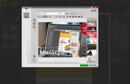 Mailstyler Newsletter Creator - Image filters & layers