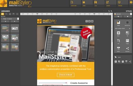 Mailstyler Newsletter Creator - Home screen
