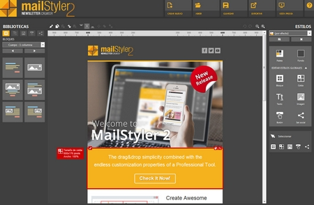 Mailstyler Newsletter Creator - Pantalla de inicio