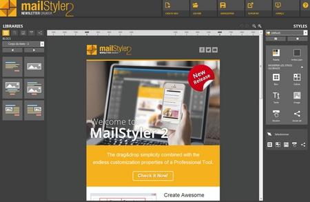 Mailstyler Newsletter Creator - Écran d'accueil