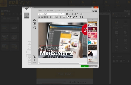 Mailstyler Newsletter Creator - Filtres et couches d'image