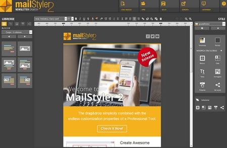 Mailstyler Newsletter Creator - Schermata iniziale