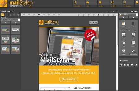 Mailstyler Newsletter Creator - Tela inicial