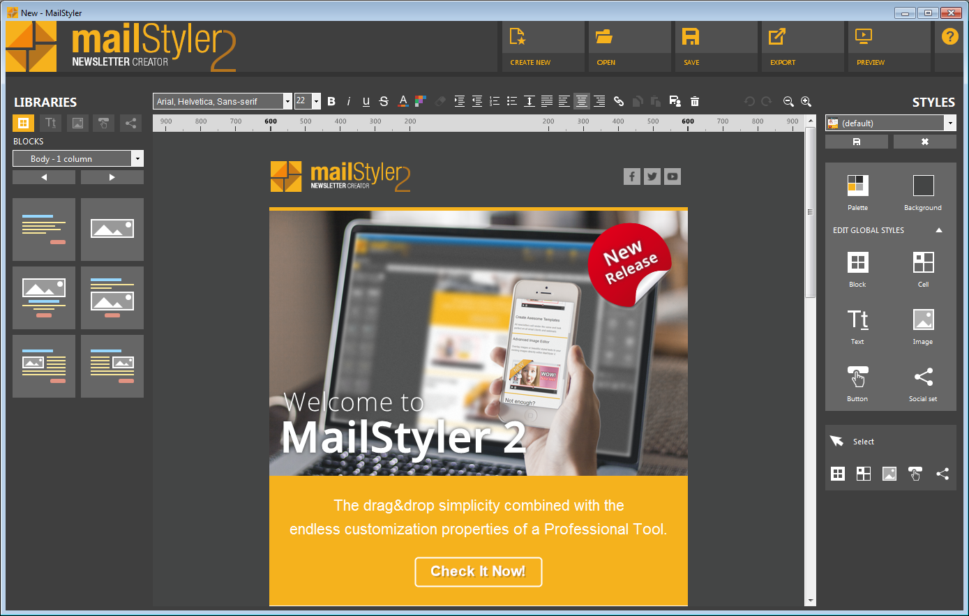 MailStyler main window