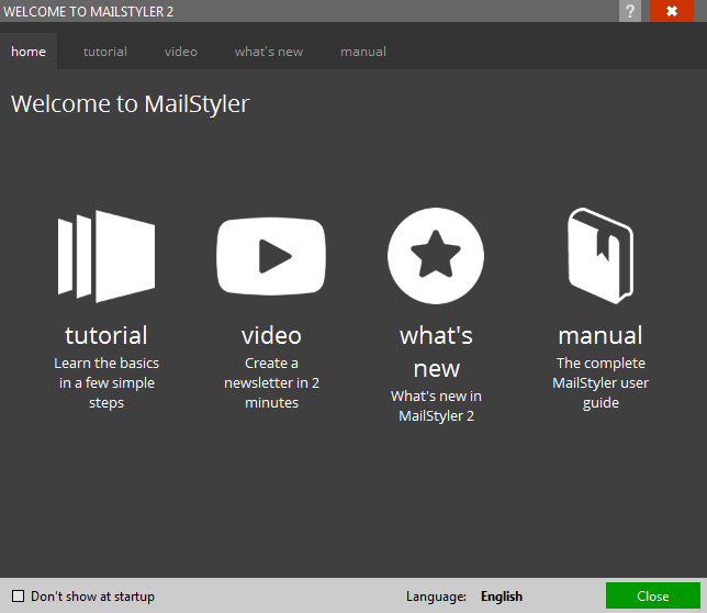 MailStyler Welcome screen