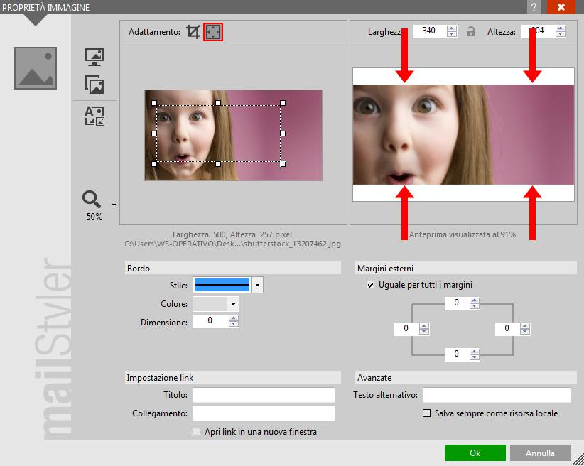 Spaziature trasparenti nelle Modalità di ritaglio zoom