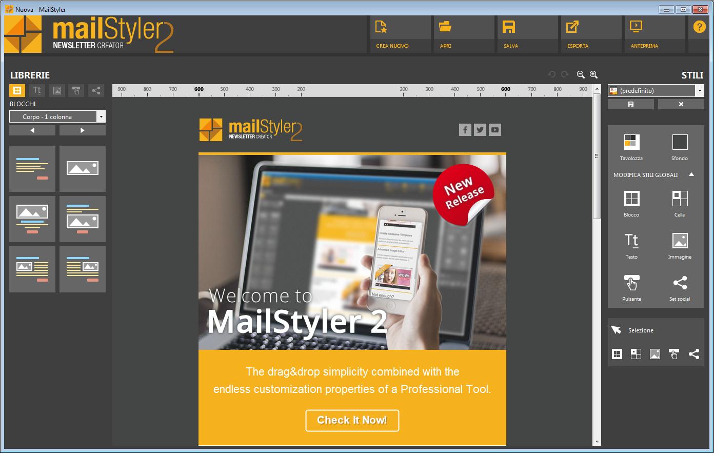 Schermata principale di MailStyler