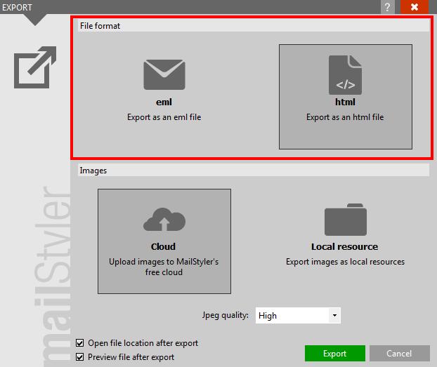 Choosing export format