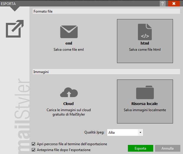 esporta template gmail