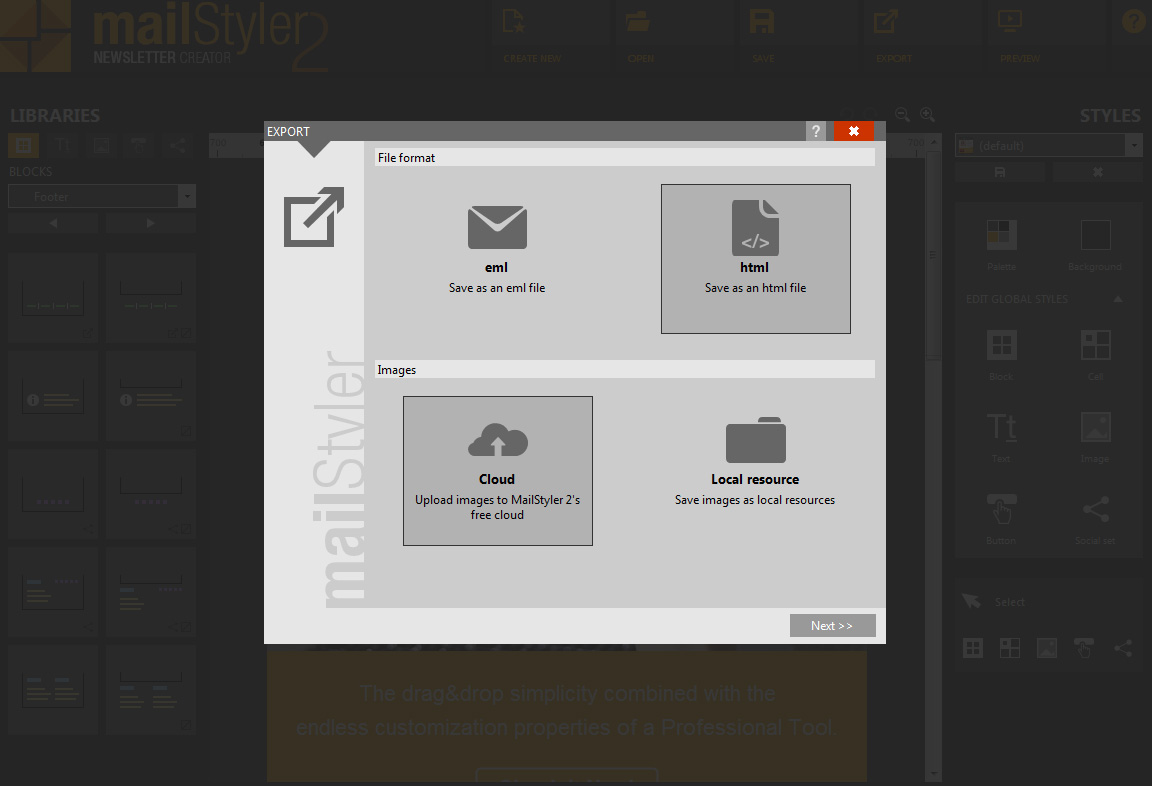 Exporting your templates with MailStyler 2 - Newsletter Creator
